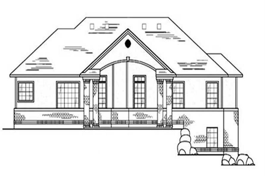 Home Plan Rear Elevation of this 3-Bedroom,1673 Sq Ft Plan -135-1261
