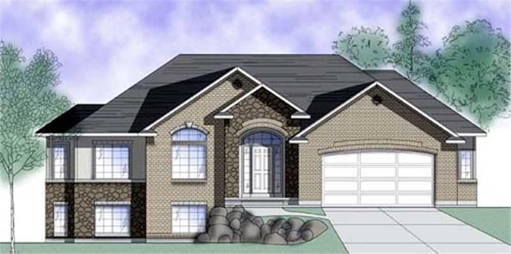 Front elevation of European home (ThePlanCollection: House Plan #135-1261)