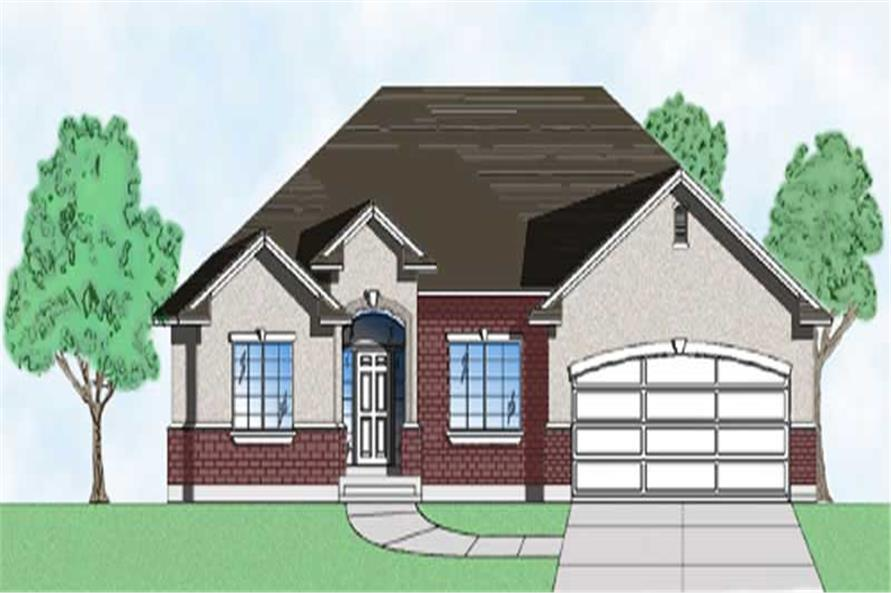 3-Bedroom, 1640 Sq Ft European House Plan - 135-1263 - Front Exterior