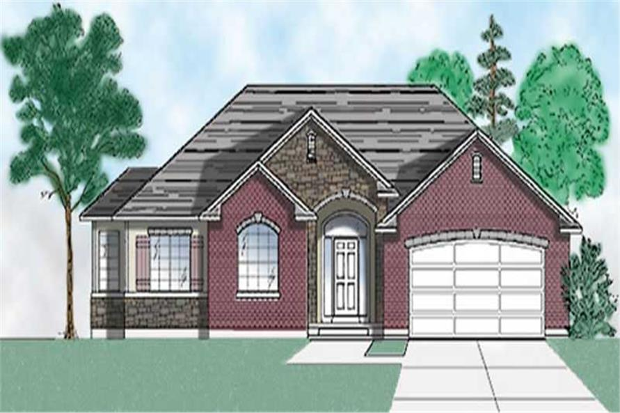 3-Bedroom, 1608 Sq Ft European House Plan - 135-1264 - Front Exterior