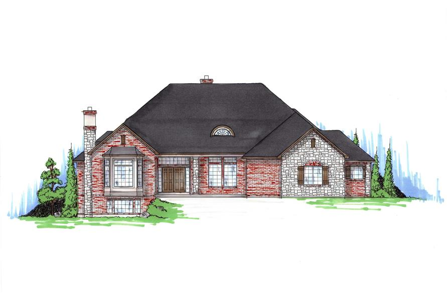 Home Plan Front Elevation of this 4-Bedroom,3068 Sq Ft Plan -135-1292