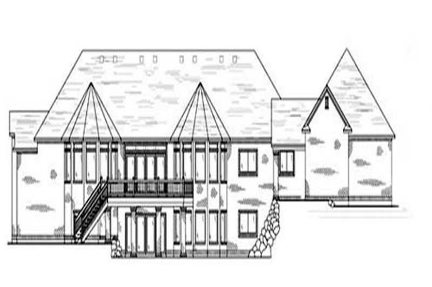 Home Plan Rear Elevation of this 4-Bedroom,2910 Sq Ft Plan -135-1296