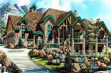5-Bedroom, 6105 Sq Ft Country House Plan - 135-1297 - Front Exterior