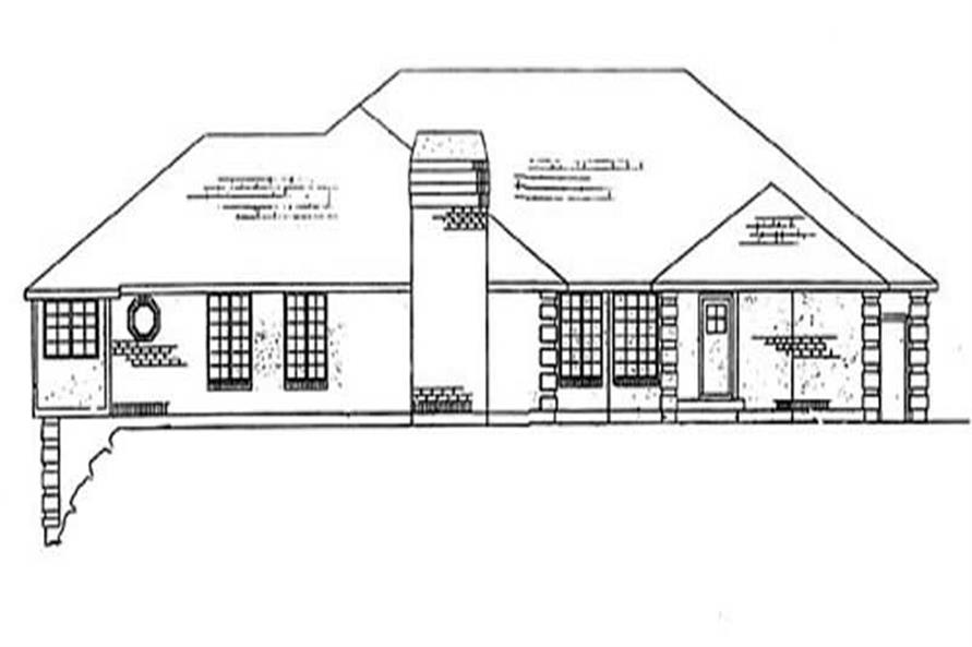 Home Plan Rear Elevation of this 5-Bedroom,3210 Sq Ft Plan -135-1299