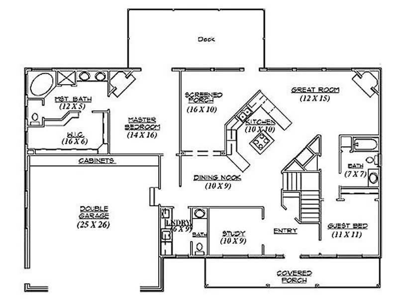 Ranch Home Plan - 2 Bedrms, 3.0 Baths - 2,042 Sq Ft - Plan ...