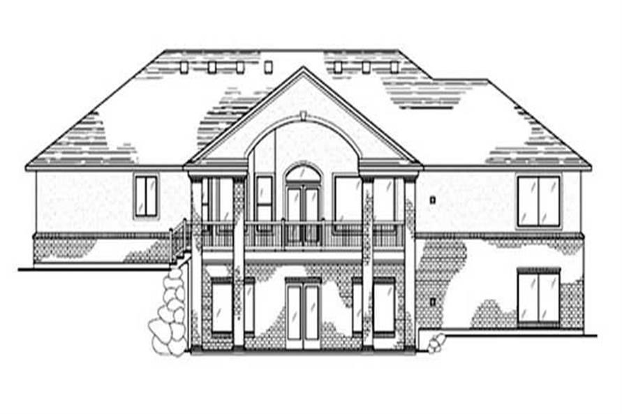Home Plan Rear Elevation of this 2-Bedroom,2077 Sq Ft Plan -135-1302