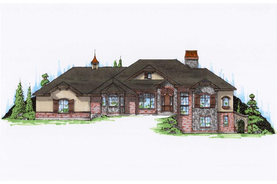 3-Bedroom, 2872 Sq Ft European House Plan - 135-1316 - Front Exterior