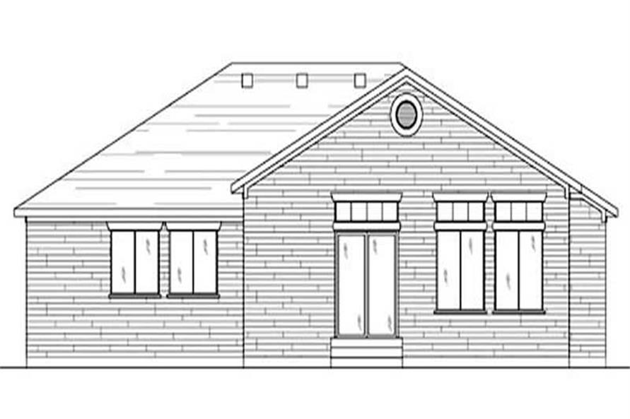 Home Plan Rear Elevation of this 2-Bedroom,1320 Sq Ft Plan -135-1336