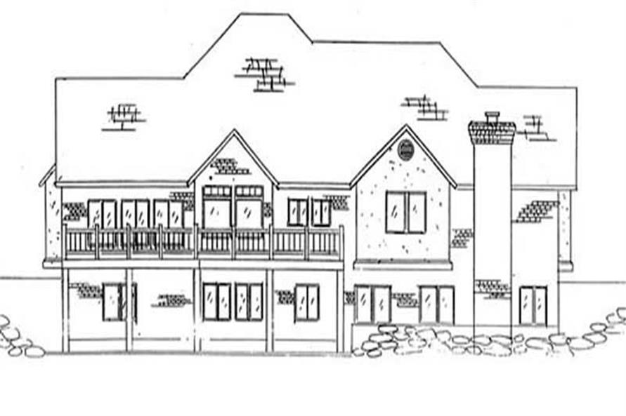 Home Plan Rear Elevation of this 3-Bedroom,2250 Sq Ft Plan -135-1340