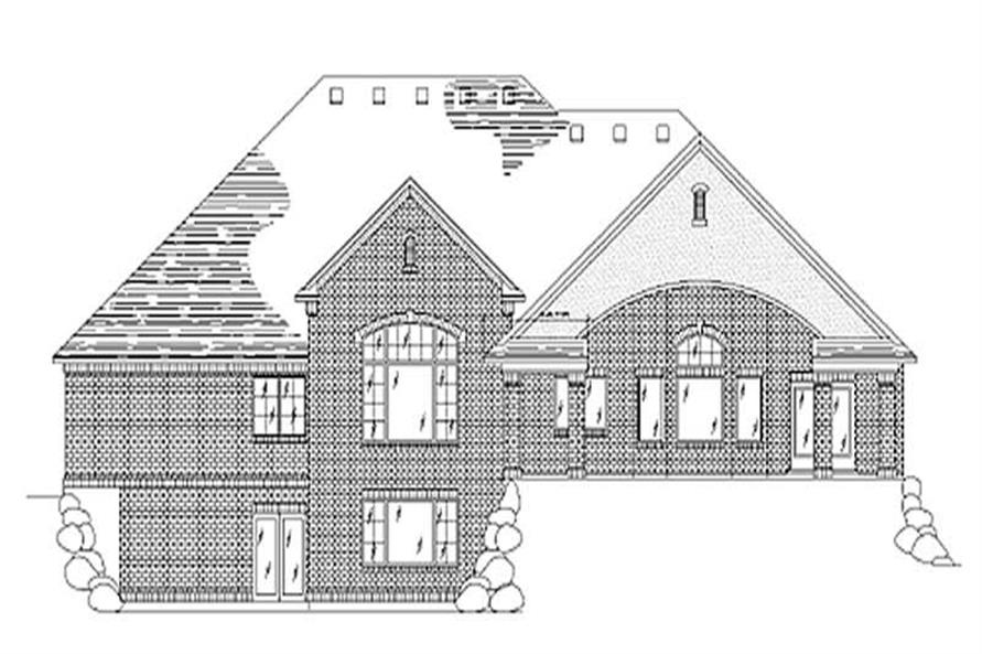 Home Plan Rear Elevation of this 4-Bedroom,2792 Sq Ft Plan -135-1341