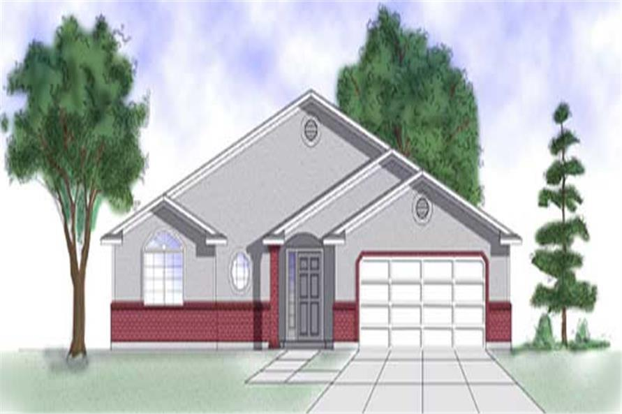 3-Bedroom, 1227 Sq Ft Ranch Home Plan - 135-1344 - Main Exterior