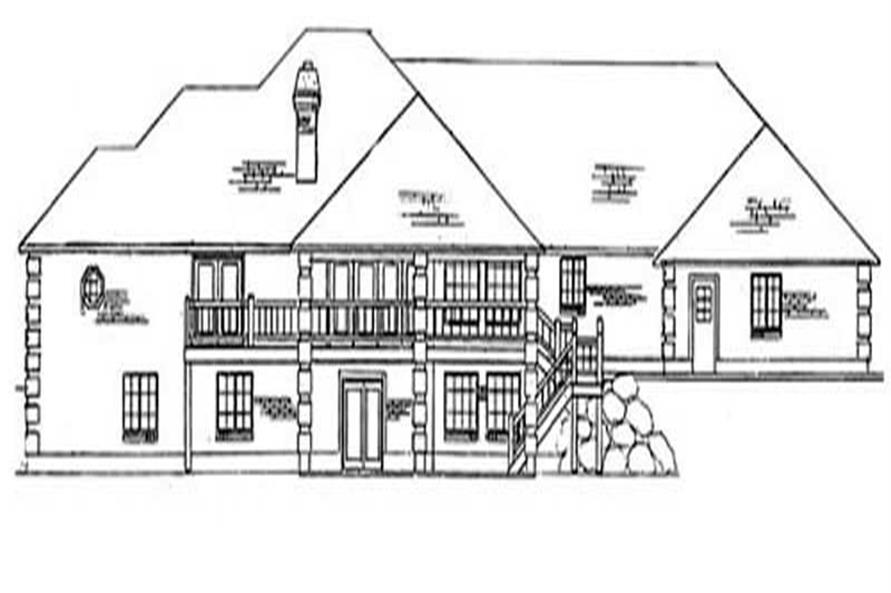Home Plan Rear Elevation of this 5-Bedroom,3478 Sq Ft Plan -135-1345