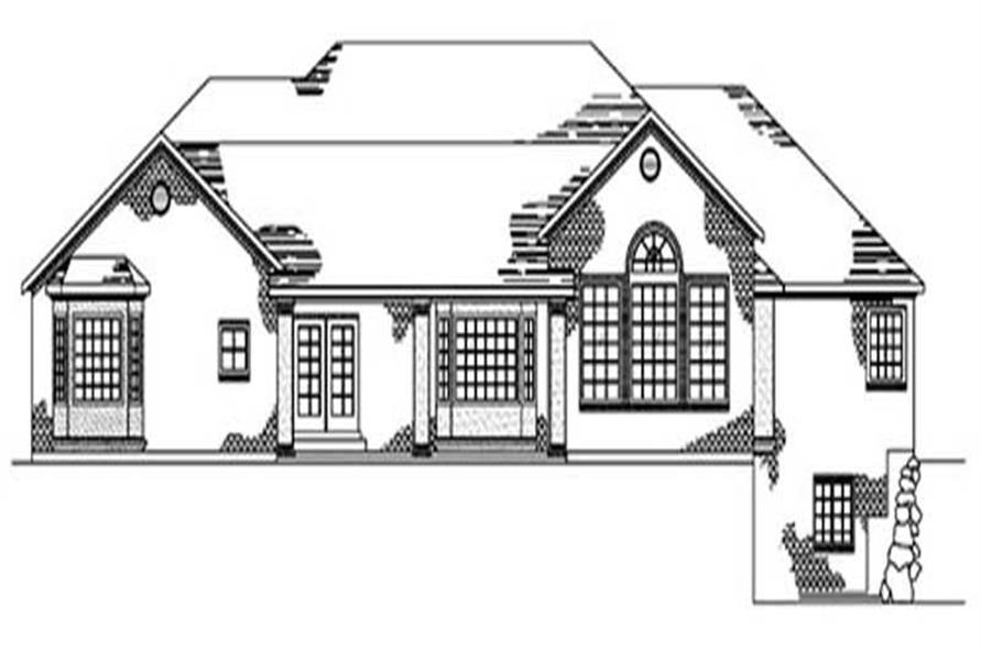Home Plan Rear Elevation of this 2-Bedroom,3027 Sq Ft Plan -135-1349