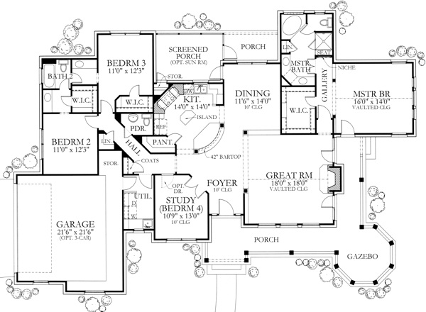 House plan 136 1000 texas inspired country for Texas ranch house floor plans