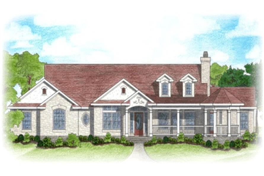 Home Plan Front Elevation of this 4-Bedroom,2184 Sq Ft Plan -136-1000