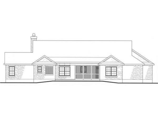 136-1000: Home Plan Rear Elevation