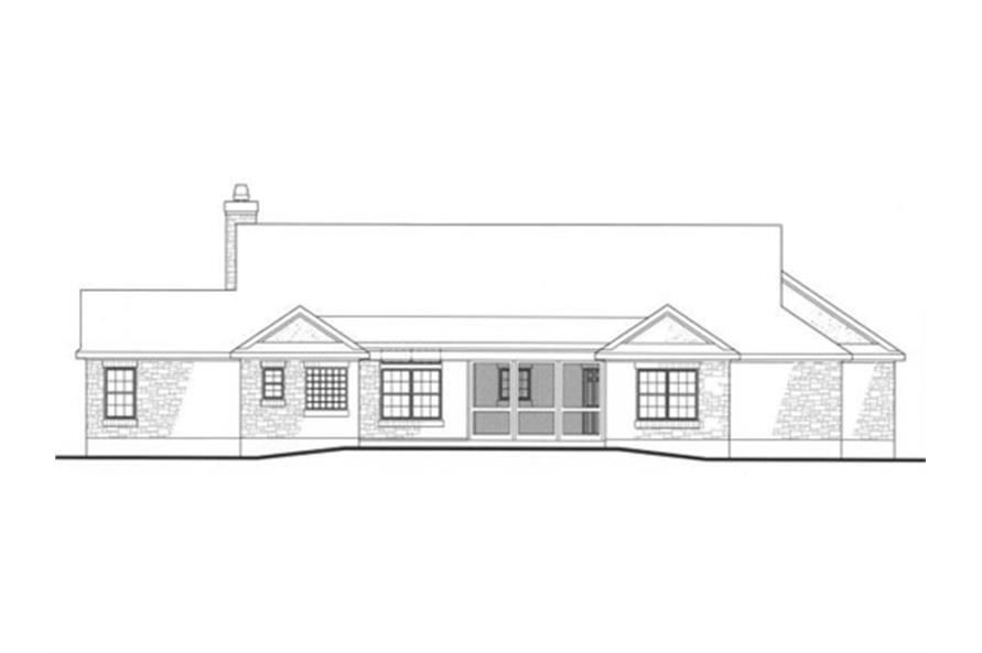 Home Plan Rear Elevation of this 4-Bedroom,2184 Sq Ft Plan -136-1000