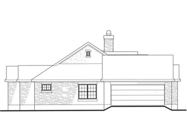 136-1000: Home Plan Left Elevation (Garage)