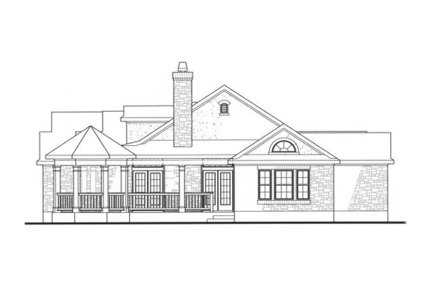 136-1000: Home Plan Right Elevation (Gazebo)