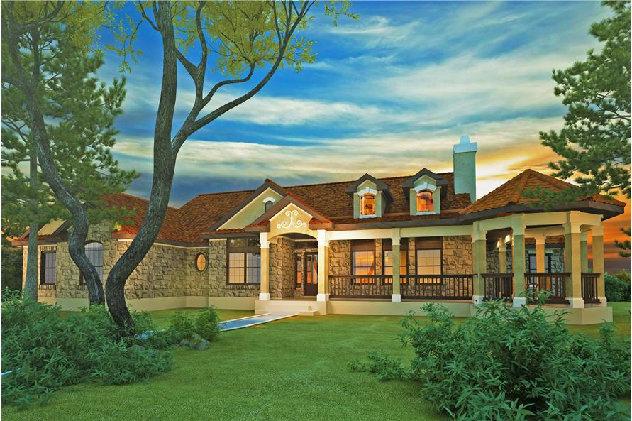 Home Plan Rendering of this 4-Bedroom,2184 Sq Ft Plan -136-1000