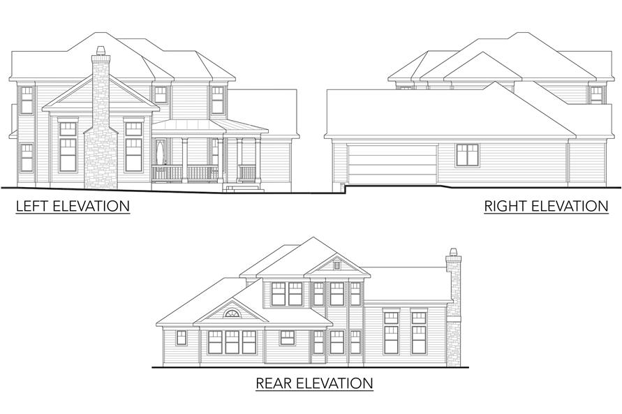 Home Plan Left Elevation of this 4-Bedroom,2202 Sq Ft Plan -136-1001