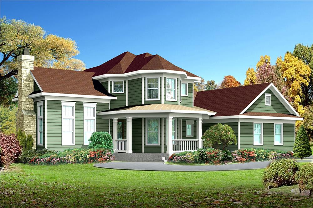 Front elevation of Victorian home (ThePlanCollection: House Plan #136-1001)