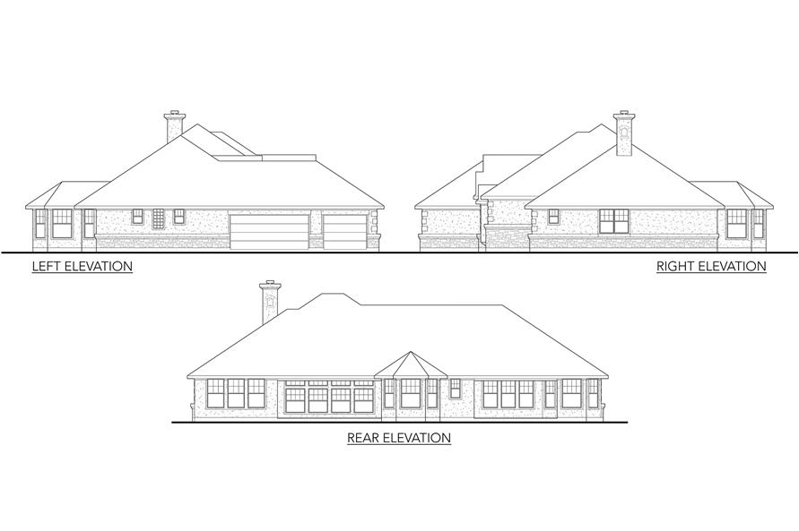 Home Plan Rear Elevation of this 5-Bedroom,3082 Sq Ft Plan -136-1002