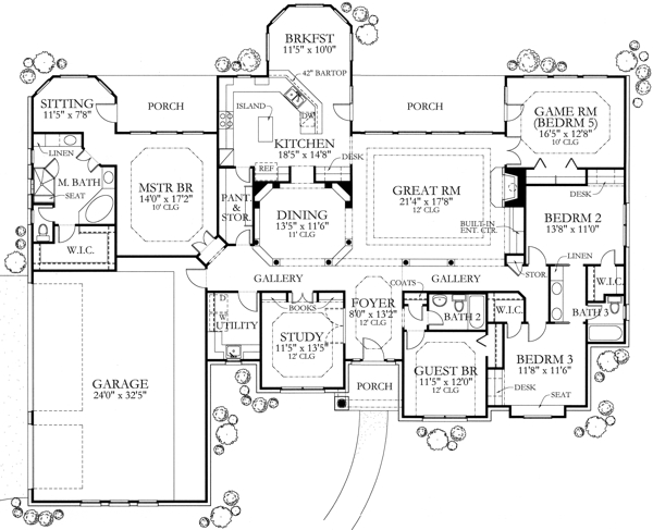 Texas country home plan four bedrooms plan 136 1002 for House plans 5 bedrooms 1 story
