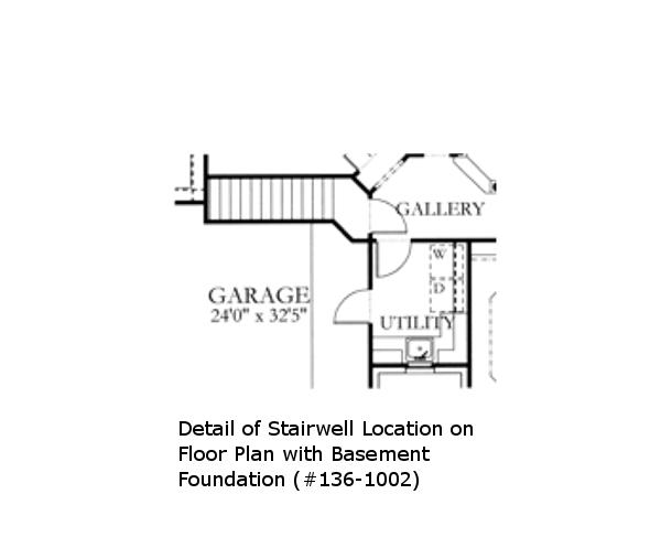136-1002: Floor Plan Basement Stairs Location on Main Level Floor Plan.
