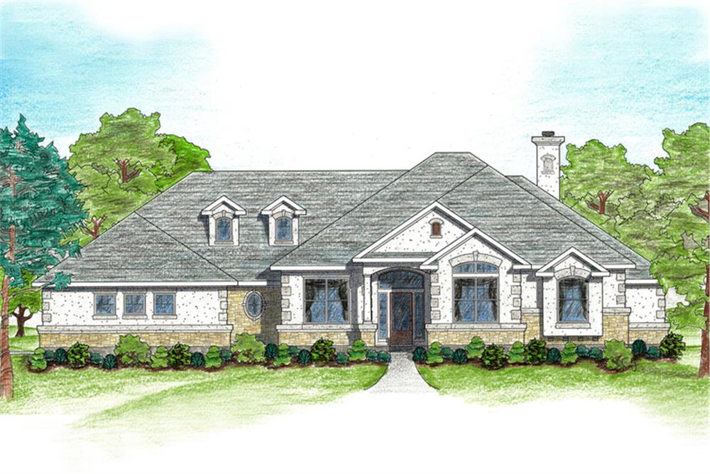 Illustration of Texas country-style house plan 136-1002. | ThePlanCollection