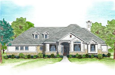 5-Bedroom, 3082 Sq Ft Texas Style House Plan - 136-1002 - Front Exterior
