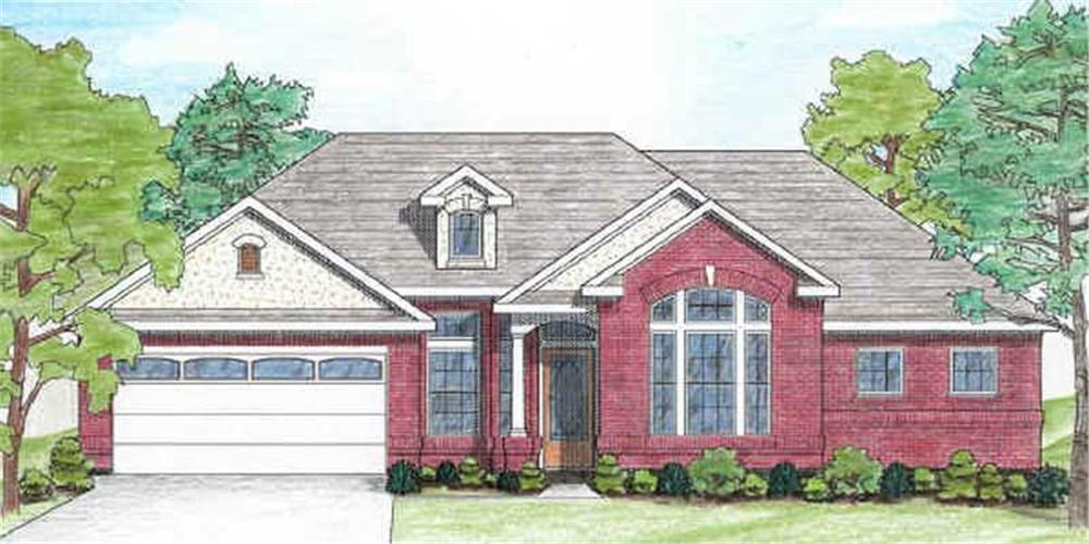 Front elevation of Texas Style home (ThePlanCollection: House Plan #136-1004)