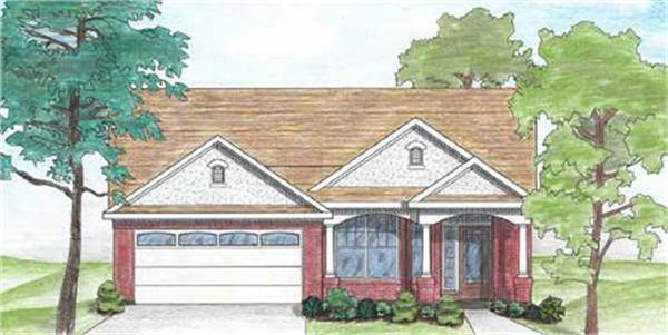 136-1005 house plan front rendering