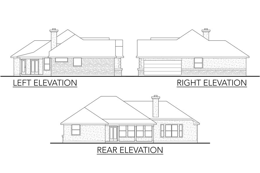 Home Plan Left Elevation of this 4-Bedroom,1950 Sq Ft Plan -136-1009
