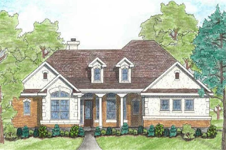 Front elevation of French home (ThePlanCollection: House Plan #136-1009)