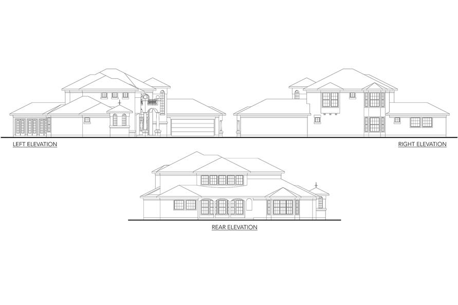 Home Plan Left Elevation of this 3-Bedroom,3639 Sq Ft Plan -136-1014