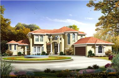 3-Bedroom, 3639 Sq Ft Mediterranean House - Plan #136-1014 - Front Exterior