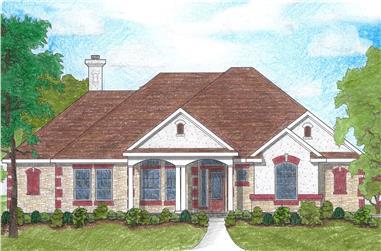 4-Bedroom, 2115 Sq Ft French House Plan - 136-1015 - Front Exterior
