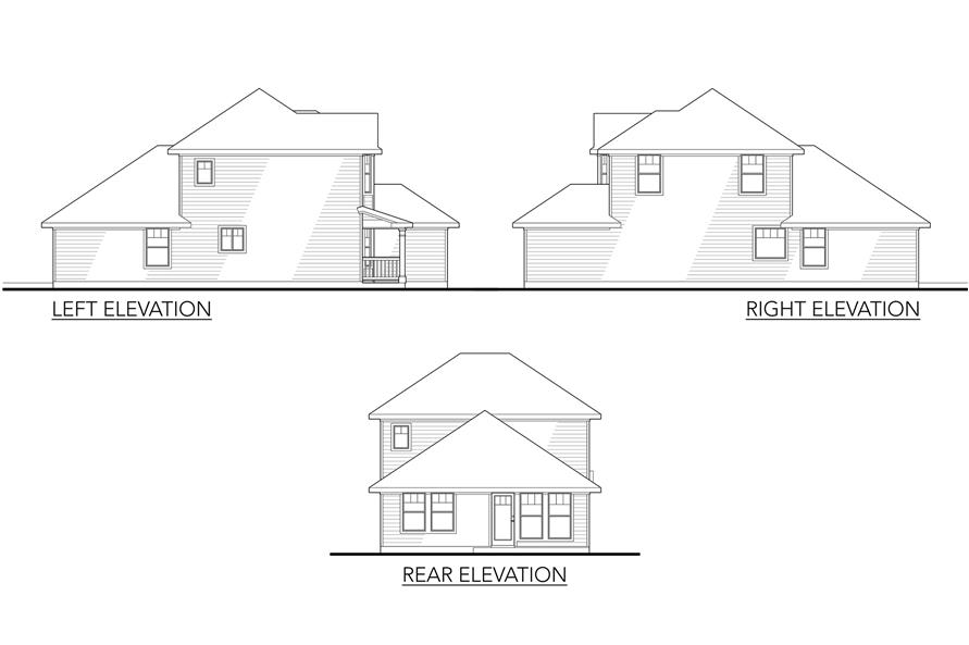 Home Plan Left Elevation of this 4-Bedroom,1472 Sq Ft Plan -136-1016