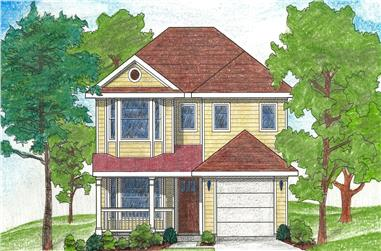4-Bedroom, 1472 Sq Ft Country Home Plan - 136-1016 - Main Exterior