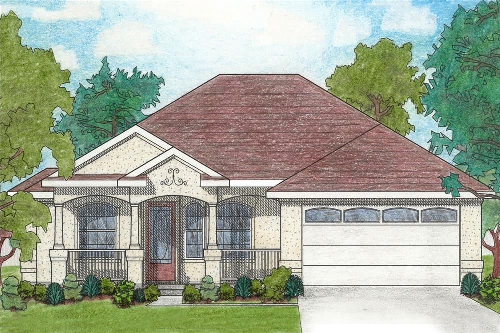 Front elevation of Small House Plans home (ThePlanCollection: House Plan #136-1017)