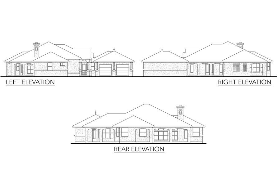 Home Plan Left Elevation of this 3-Bedroom,1988 Sq Ft Plan -136-1018