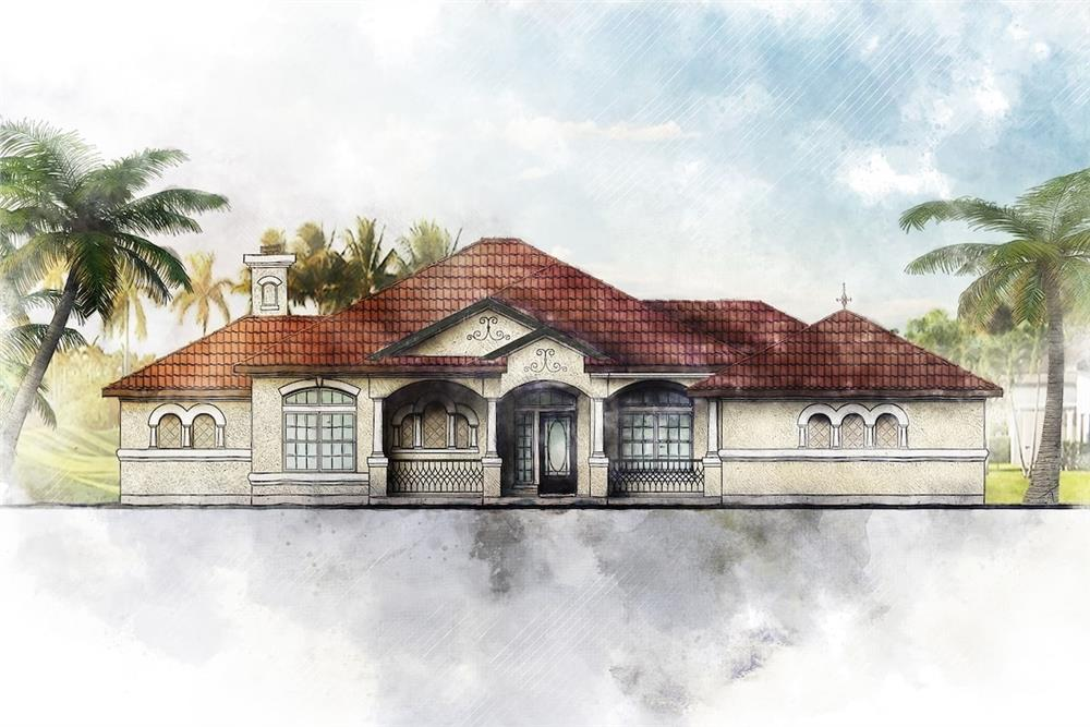 Southwest style home (ThePlanCollection: House Plan #136-1018)
