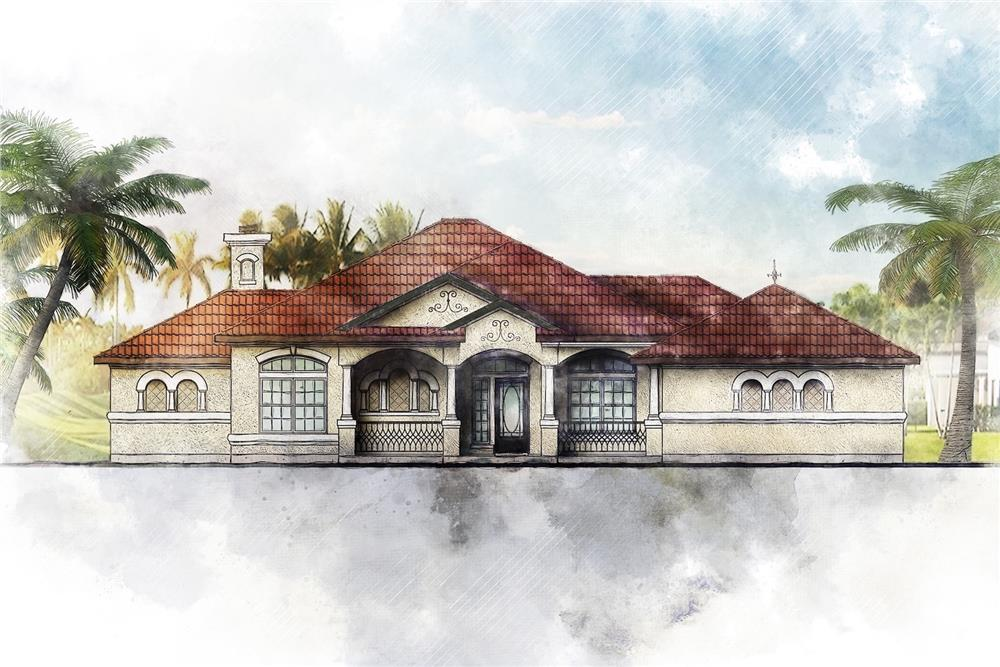 Color rendering of Southwest home plan (ThePlanCollection: House Plan #136-1018)