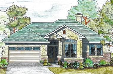 Front elevation of Texas Style home (ThePlanCollection: House Plan #136-1019)
