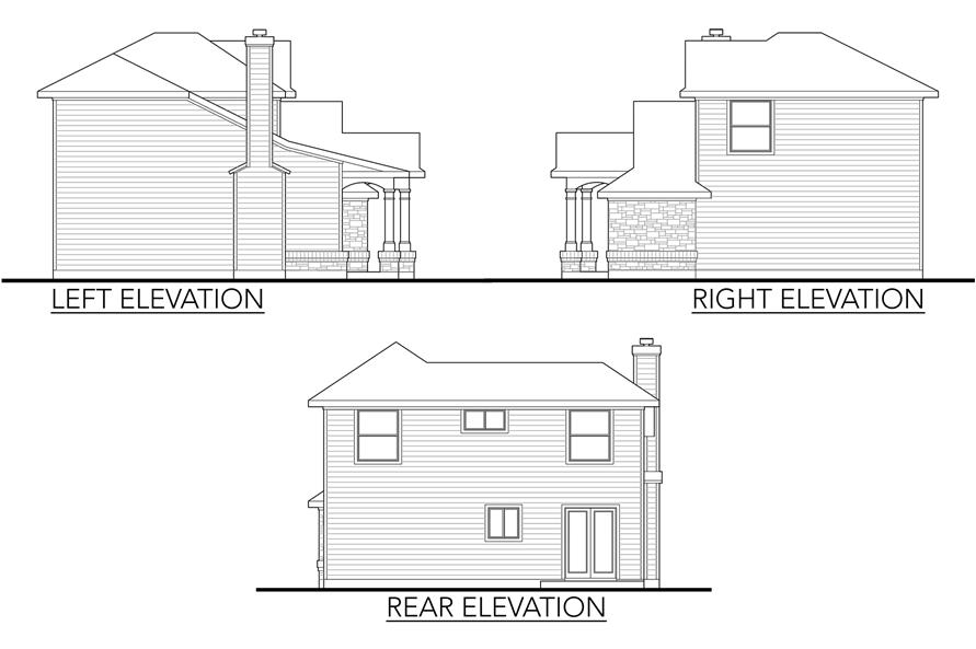Home Plan Left Elevation of this 4-Bedroom,1387 Sq Ft Plan -136-1020