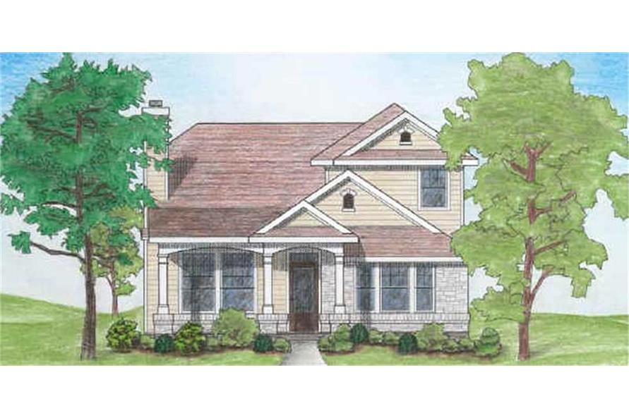 Home Plan Rendering of this 4-Bedroom,1387 Sq Ft Plan -136-1020