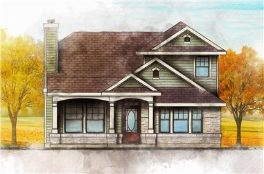 4-Bedroom, 1387 Sq Ft Country Home Plan - 136-1020 - Main Exterior