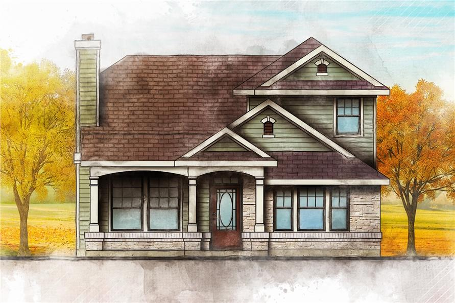 Color rendering of Country home plan (ThePlanCollection: House Plan #136-1020)