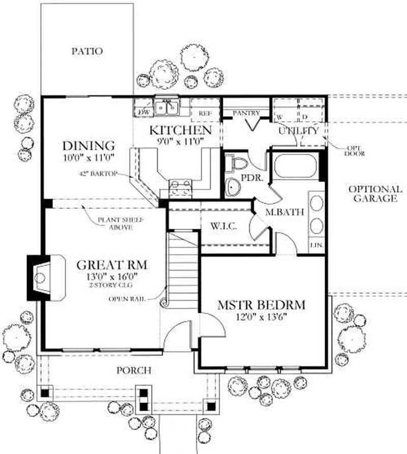4 bedrm 1387 sq ft country house plan 136 1020 for Country house floor plans